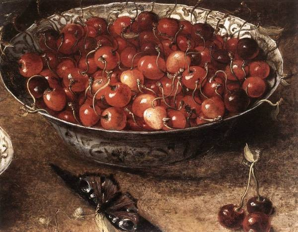 Still Life With Cherries And Strawberries In China Bowls detail